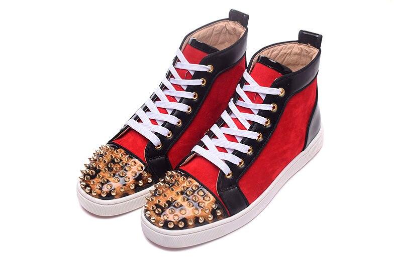 Inferiores Spikes Lujo De Pareja Unisex High Diseñador Hombres Zapatos Homme Show Golden Remaches Botas Lentejuelas Chaussure Top As Casual Rojos nFZvxqRwR