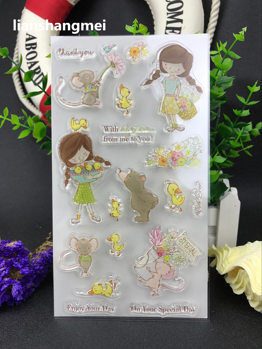 Lovely girl Transparent Clear Silicone Stamp/Seal for DIY scrapbooking/photo album Decorative clear stamp about lovely baby design transparent clear silicone stamp seal for diy scrapbooking photo album clear stamp paper craft cl 052