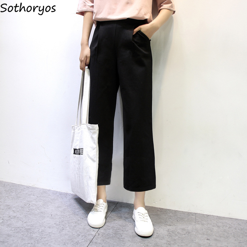 Pants   Women High Waist Solid Simple All-match Pockets Casual Loose   Wide     Leg     Pant   Womens Hot New Trends 2018 Korean Trousers