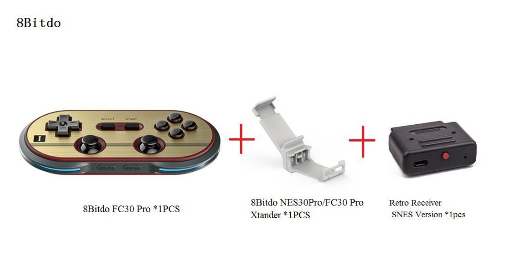 ФОТО Free Shipping 8Bitdo FC30Pro Wireless Bluetooth Gamepad +Xtander+Retro Receiver(SNES Version) Support iOS/ Android/Window/Mac OS