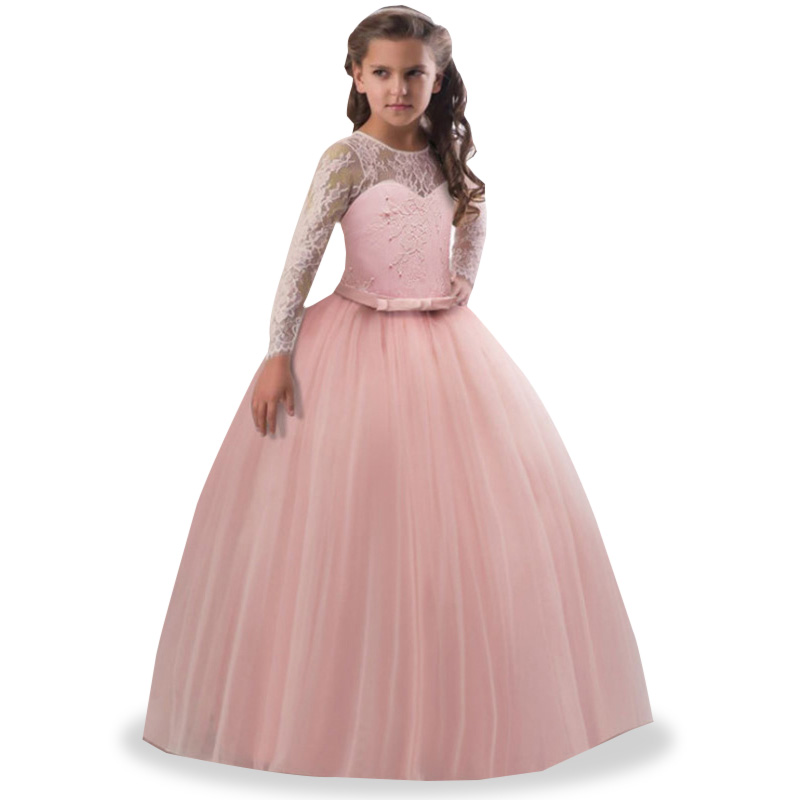 Lace Dress Ladies Dress Flower Girl Dresses Girls Elegant Dress First Communion Princess Party Baby Tutu Costume Fluffy