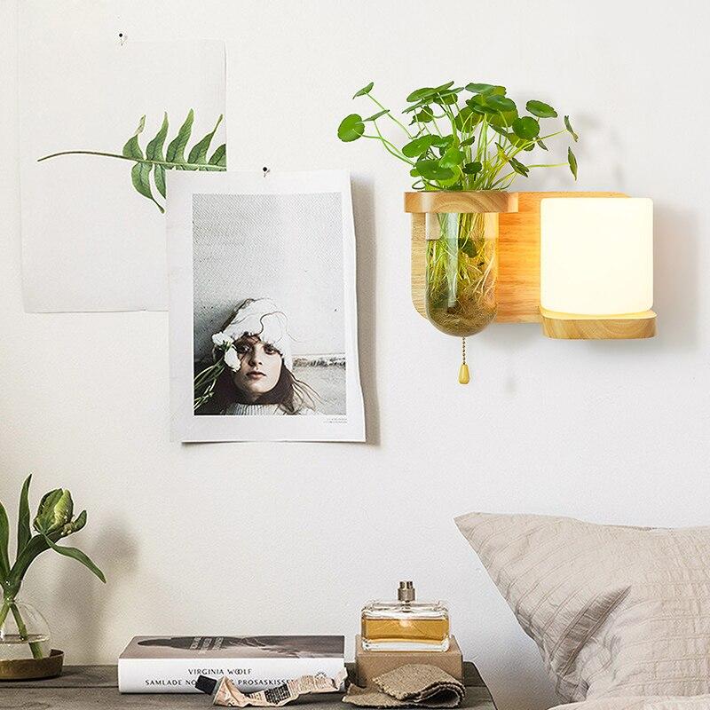 Nordic Hout Wandlamp met Hydrocultuur Succulenten Bloem Glas Pot voor Woonkamer Naast Light Blaker Wandlamp Muur Art