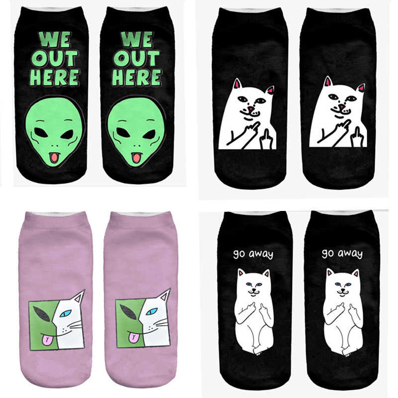 6 Pair 3D Women Sock Print Cute Cat Time-limited Ruched Polyester Contrast Color Meias Women Socks Casual Cute Character Unisex