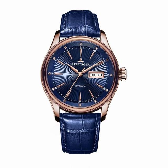 리프 타이거 클래식 serier rga8232 남자 패션 비즈니스 울트라 얇은 방수 자동 기계 손목 시계 가죽-에서기계식 시계부터 시계 의  그룹 2