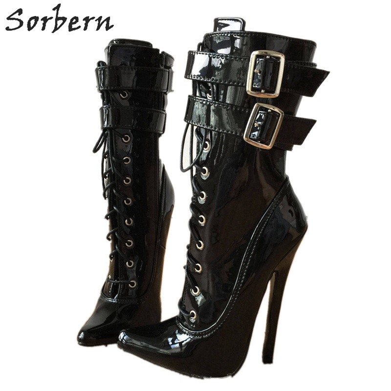 Sorbern 18Cm 7 Stiletto High Heel Boots Ankle High Sexy Fetish Shoes Women Buckle Strap Patent Pointed Toe Lace Up Boots Unisex цена