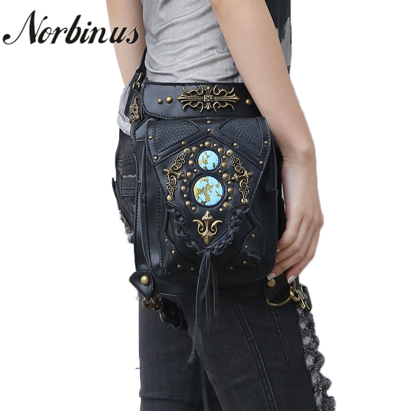 Norbinus Steampunk Women Shoulder Bags PU Leather Waist Fanny Packs Female Messenger Crossbody Bags Rivet Holster