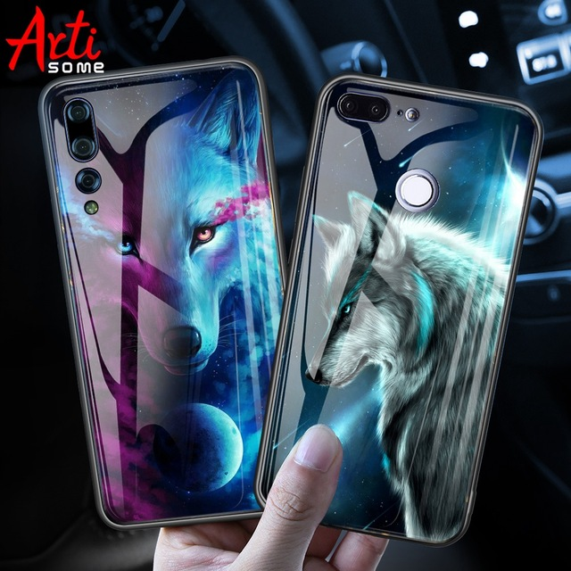 Luxury Tempered Glass Case On For Huawei Honor 9 Lite 9 10 Animal Pattern Case Huawei Mate 10 Lite P20 Lite Pro P Smart Enjoy 7s
