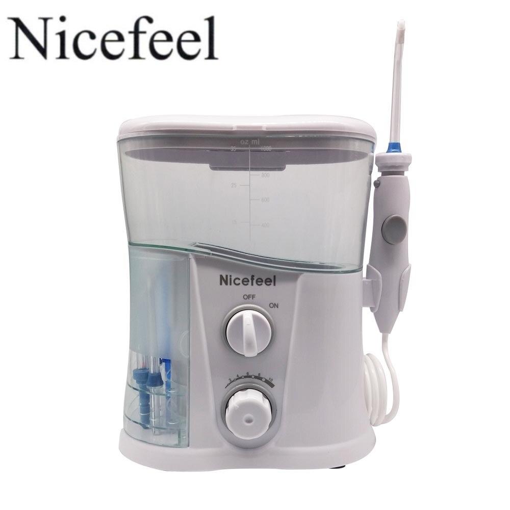 Nicefeel Oral Irrigateur et hydropulseur dentaire avec 1000 ml réservoir d'eau + 7 Conseils avec Réglable Pression jet hydropropulseur