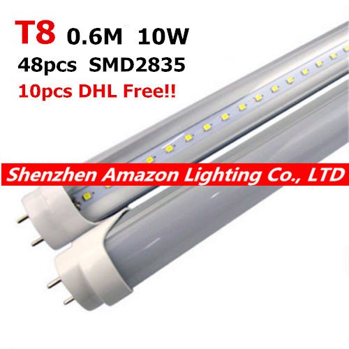 Free Shipping LED Tube T8 10W <font><b>600mm</b></font> 10pcs/lot Top Quality SMD2835 Warranty 2 Years CE RoHS Super Bright T8 LED Tube Light image