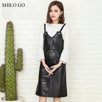 SHILO GO Leather Dress Womens Spring Fashion sheepskin genuine leather Dress spaghetti strap metal belt knee straight dress