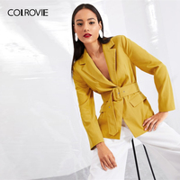 COLROVIE Ginger Notched Collar Belted Workwear Ladies Blazer Women Blazers And Jackets 2019 Spring Fashion Office Lady Coat