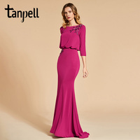 Tanpell Bateau Neck Evening Dress Rose Red 3 4 Sleeves Floor Length Gown Women Appliques Long