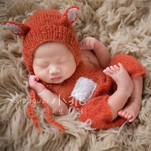 ФОТО baby fox hat with romper set  overalls bib pants photo props newborn clothing sets animal bonnet photography props