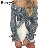 BerryGo Off Shoulder Striped Blouse Shirt Women High Waist Bow Long Sleeve Backless Tops Sexy Button