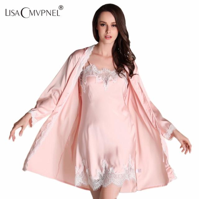 Lisacmvpnel Otoño Nueva Transpirable 2 unids mujeres robe + conjunto bata camisón de encaje sexy mujeres traje elegante ropa de las mujeres cardigans