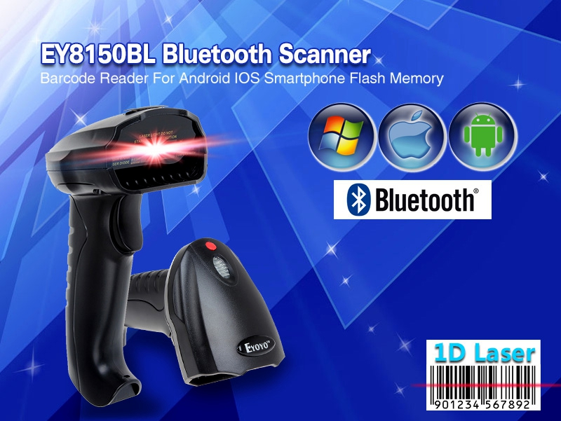 EY8150BL Wireless Bluetooth 1D Barcode Scanner Mini Barcode Reader for iOS Android Windows System Bar Scanner