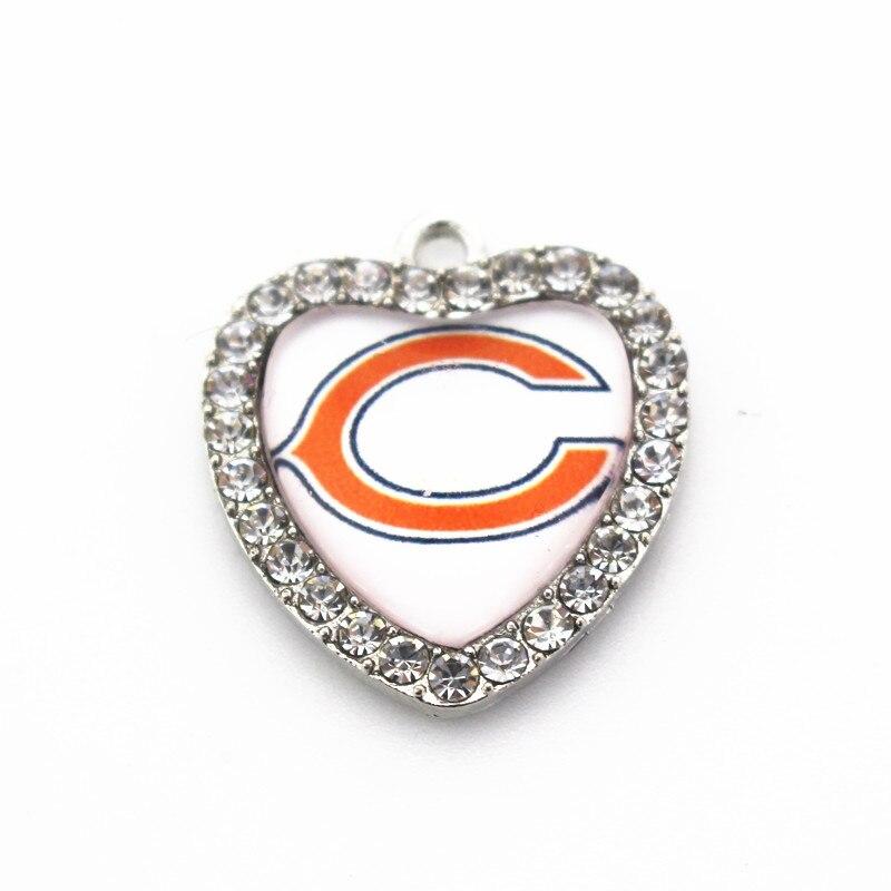 Новый дизайн 20 шт./лот США Футбол Модные украшения спортивные Chicago Bears Стекло сердце кристалл мотаться Талисманы для Кулон