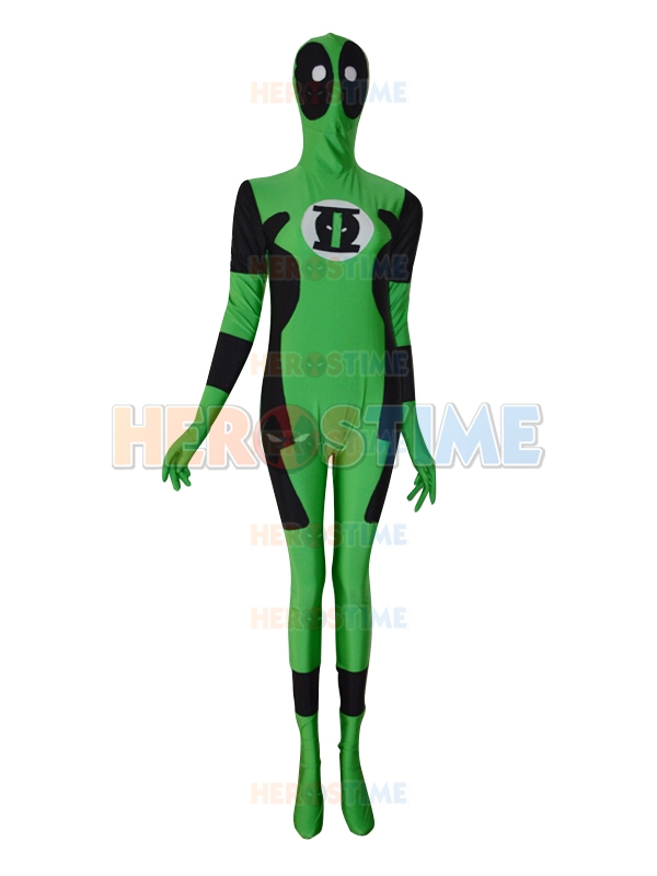 Green Lantern Deadpool Custom Made Superhero Costume Lycra Spandex Zentai Full Bodysuit Halloween Cosplay Costume Free Shipping