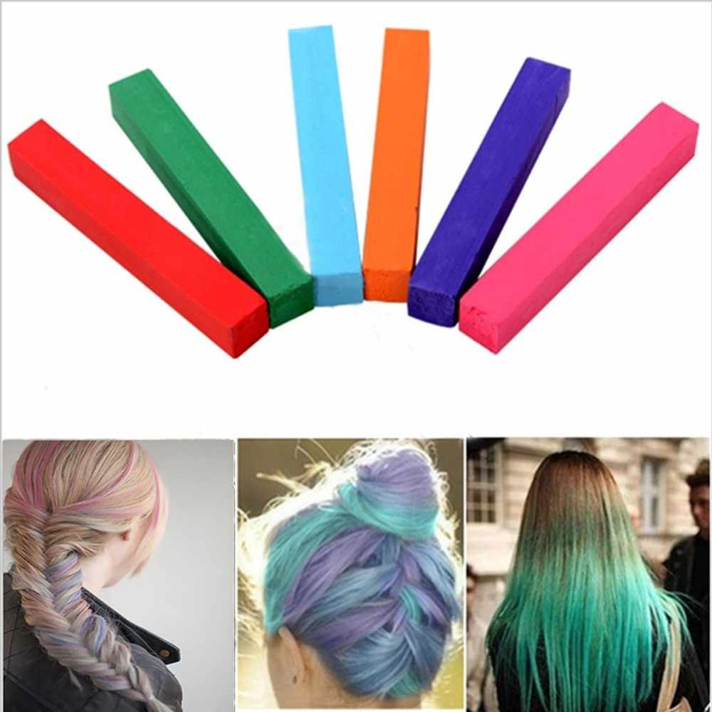 6pcs Temporary Crayons Hair Color Mascara Dye Hair Color Chalk Colorful Alcohol Free Non Toxic Hair Coloring Chalks Party Makeup