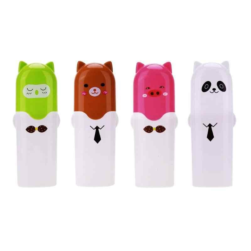 Bonito Dos Desenhos Animados Caso Titular Caixa de escova de Dentes de Viagem Portátil Copo de Lavar Copo Com Tampa Verde Pássaro Marrom Urso Panda Porco Cor de Rosa Branca