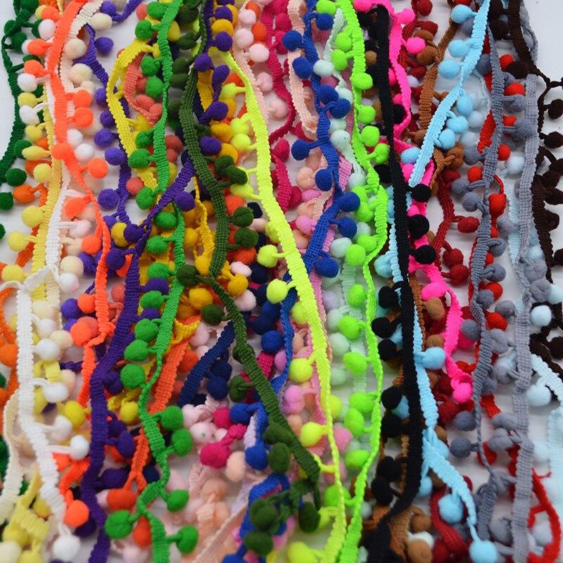 5 Yards Pom Pom Trim Ball 10mm Pompom Sewing Accessories Lace Trim Ribbbon Fabric Ribbon Handcraft Clothing Apparel Accessories