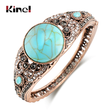 Kinel Vintage Bohemia Natural Stone Bangle Bracelet For Women Antique Gold Color Traditional Gift Caucasian Cuff Jewelry