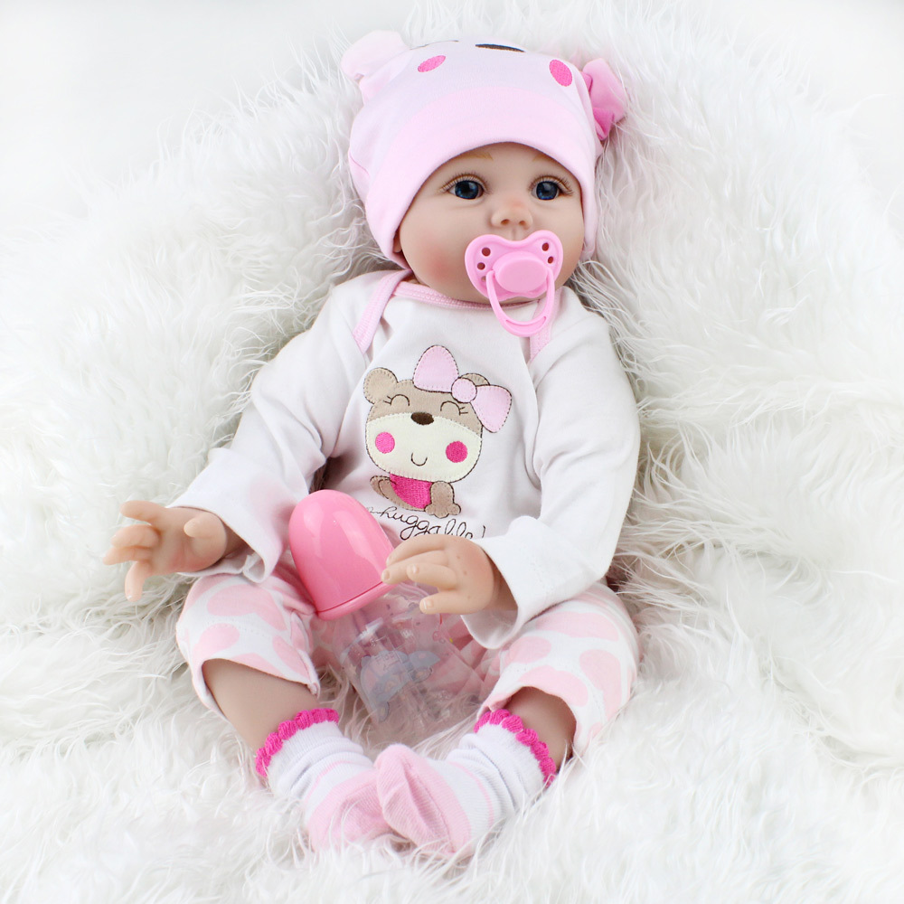 55cm Soft Silicone Doll Reborn Baby 22 Toy For Girls Newborn Girl Baby Birthday Gift For Child Bedtime Early Education ...