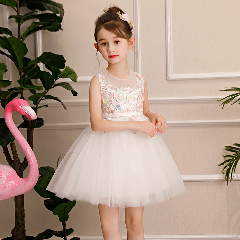 New Birthday Kids Dresses New Flower Girl Dresses Ball Gown Kids Pageant Gowns Wedding Girls Party Dress Summer Dress AA300 new dubai girl s pageant dresses crystals blue lace ball gown glamorous kids pageant dress flower girls gowns for wedding