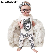 AiLe Rabbit Newborn baby clothing set short t-shirt+pants 2pcs set summer cotton tops printed cartoon monster kids boy's clothes aile rabbit kids fashion suits outfit hoodie pants 2pcs jacket sports set flower print girl windbreaker raincoat camping k1
