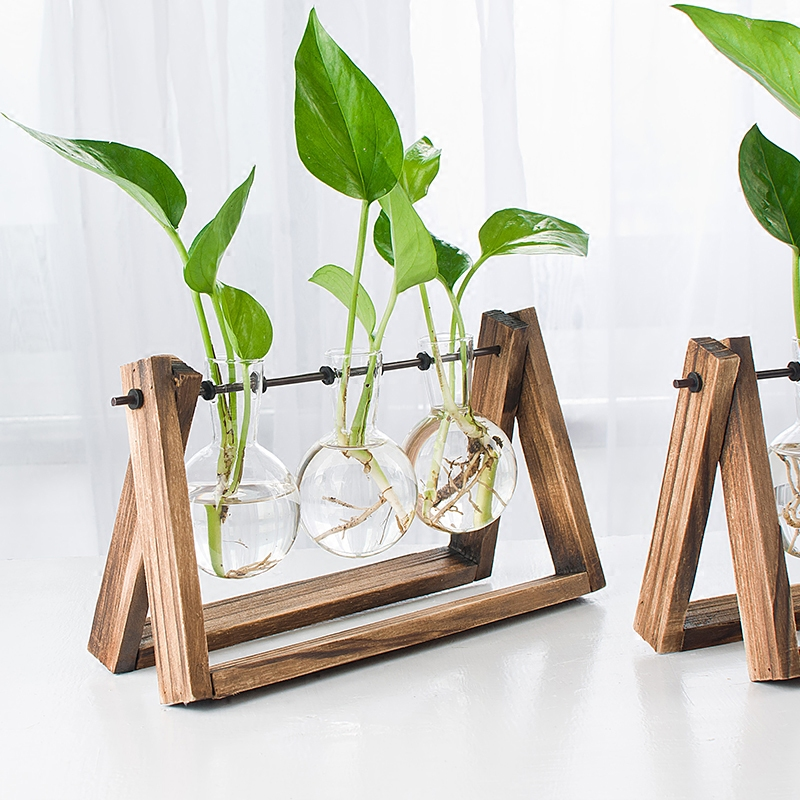 O.RoseLif New Year Vintage Style Glass Tabletop Plant Bonsai Flower Home Wedding Decorative Vase With Wooden Tray Accessories