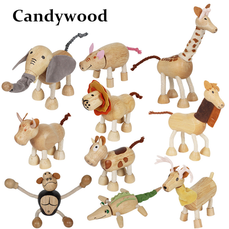 Us 20 9 Offcandywood 3d Wooden Cute Animals Blocks Decorative Doll Small Emulation Animal Models Baby Kids Learning Toys Animal Figurines In
