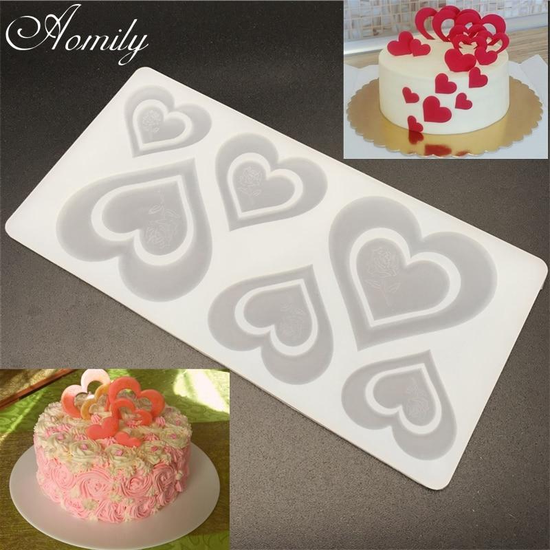 Aomily креативные силиконовые формы для шоколада с двойным сердцем и розой, Инструменты для декорирования тортов, силиконовые формы для печен...