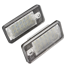 2Pcs Car Number Plate Light For Audi A3 A4 A6 A8 Q7 RS4 RS6 Auto License Plate Lamp 5W 6500K 18 LED Easy to install Car Styling