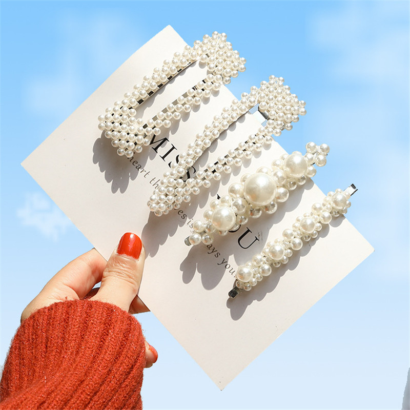 lanjuzi Korea Pearl Barrettes for Women Ladies Elegant