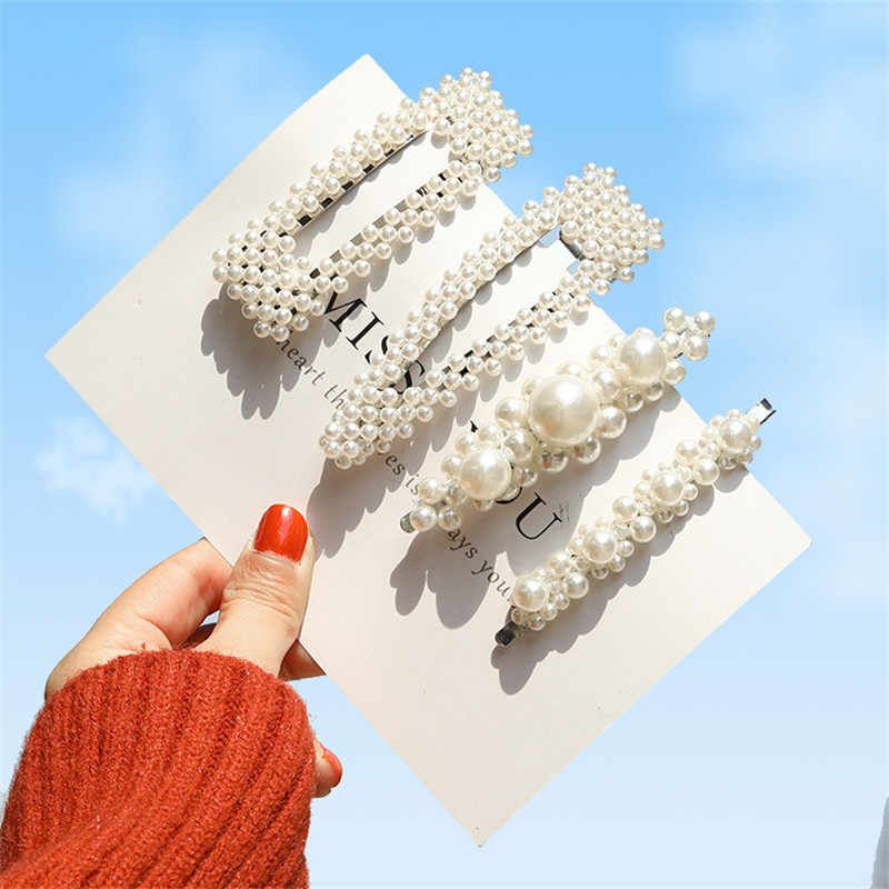 2019 New Fashion Pearl Hair Clip for Women Elegant Korean Design Snap Barrette Stick Hairpin Hair Styling Accessories
