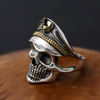 925 Sterling Silver Retro Do Crânio Do Pirata Capitão Homens Chapéu com Águia de Prata Thai Anel Aberto Anel de Dedo Ajustável ZY289-14