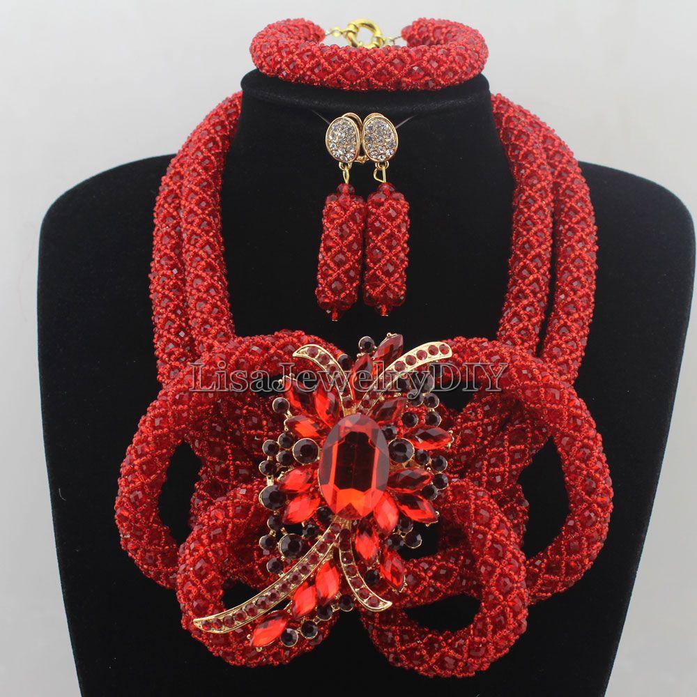 Red African Beads Jewelry Set Nigerian Wedding Costume