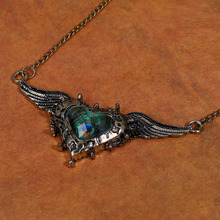 8SEASONS Peacock Feather Wing Necklace Antique Bronze Women Fashion Glass Heart Pendant Green & Blue Link Chain, 1 PC