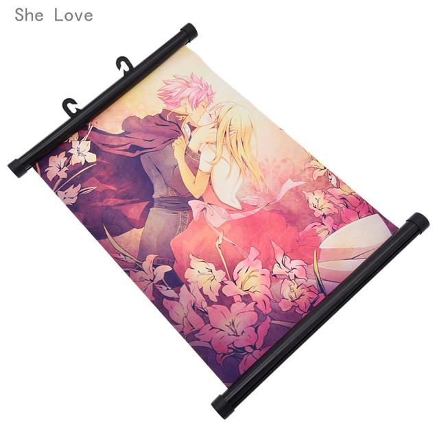 She Love Fairy Tail Natsu Lucy Poster Scroll Painting Wall Hanging Home Cosplay