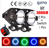QIPO 2PCS 12V Motorcycle Headlight Motorbike 3000LM Cree LED Chip Driving Car Fog Spot Head Light