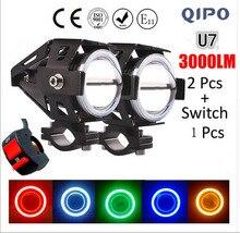 Qipo 2 шт. 12 В мотоцикл фар мотоциклов U7 светодиодный чип для вождения автомобиля противотуманные Спот Глава свет лампы Moto прожекторы U7Shoot свет