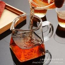 Heat resistant glass, reasonable cup, large, transparent, public creative effort, tea set, square, large capacity, fair cup