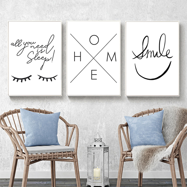 Black and White Smiley Eyes Home Pattern Canvas  2