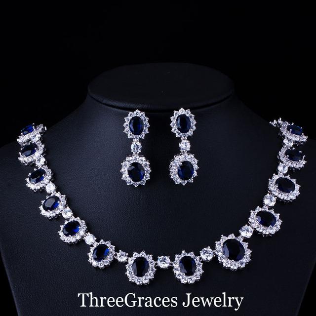 Diseño de Vestuario africano Joyas de oro Blanco plateó CZ Diamante Sintético Azul Real Nupcial Aretes Collar Para La Boda JS040