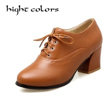 Vintage High Heels Oxford Shoes For Women Autumn Thick Heel Women Pumps Brogues Oxford Woman Casual Shoes Sapatos Femininos