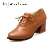Vintage Tacones Altos Zapatos Oxford Para Las Mujeres Del Otoño Talón Grueso Bombas de Las Mujeres Brogues Oxford Casual Mujer Zapatos Sapatos Femininos