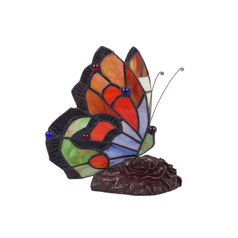 ФОТО European style Butterfly Stained Glass table lamp for bedroom desk lamp living room lamparas de mesa