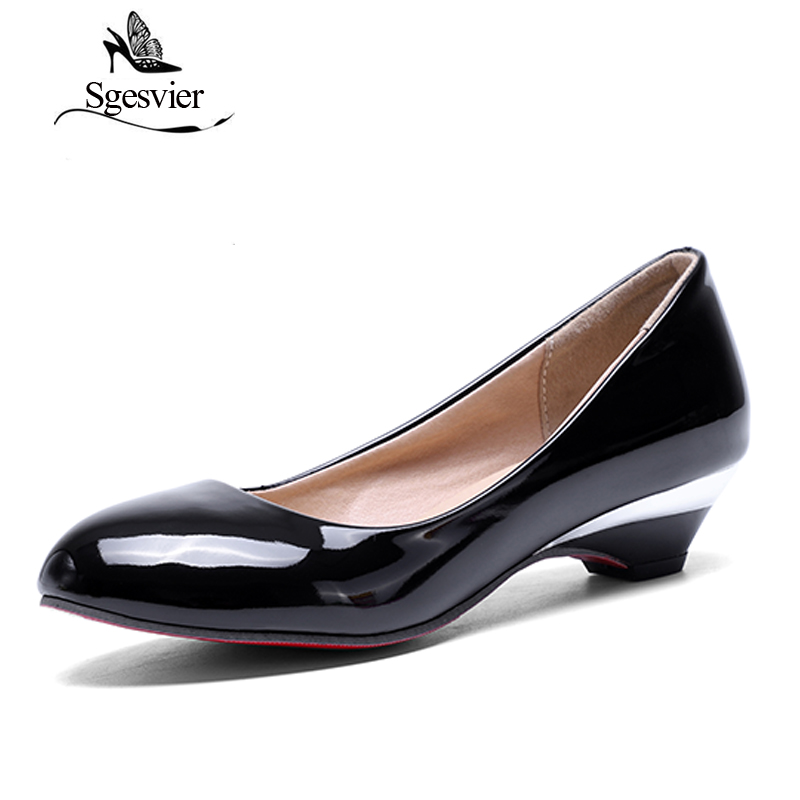 SGESVIER Women Pumps 2017 Autumn New Elegant  Classics Dress Plus Size 32- 48 Small Round Head Low Heels Lady Shoes OX093 kensie new white black women small s butterfly print hi low shift dress $99 324