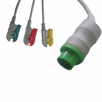 Schiller/Bruker SM784, SM785(ODAM) one piece three leads ECG cable with leadwire,