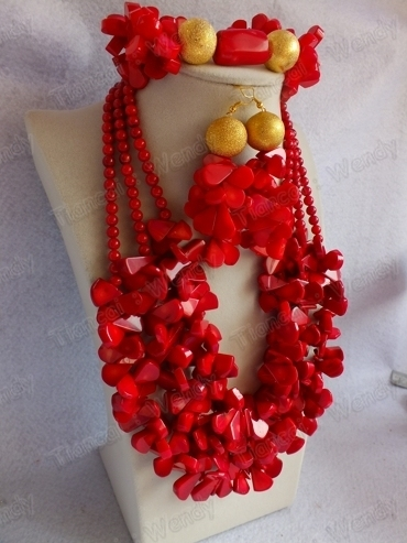 New!!!! # CN010 Coral Jewelry Set necklace bracelet earring for African Wedding
